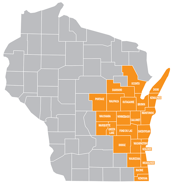 Employer service area county map