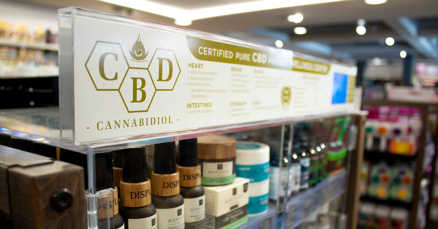 cbd oils and products on shelf