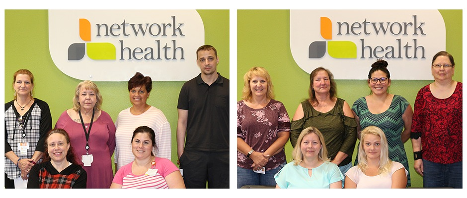 100 Club featured employees in front of Network Health wall