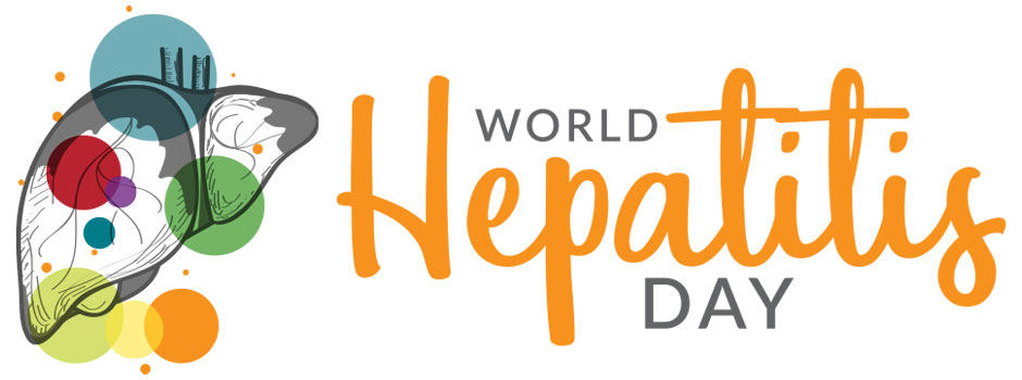 icon with world hepatitis day and liver outlined