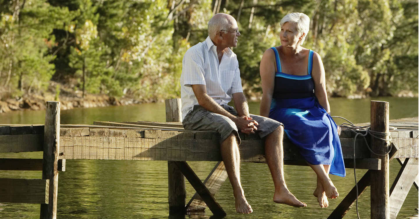 older couple talking about colorectal health