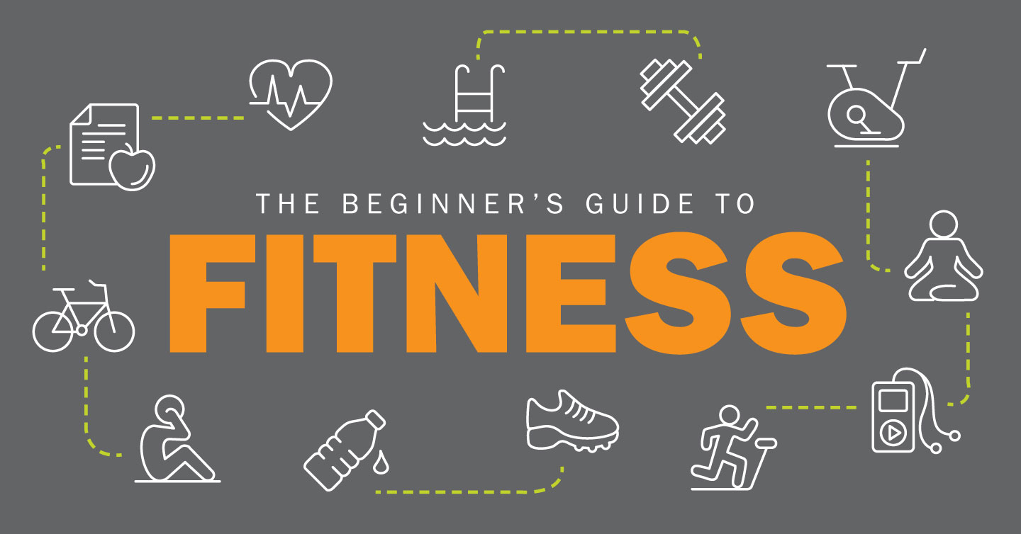 graphic with beginners guide to fitness text and iconography